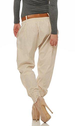 4849 Fashion4Young Legere Damen Bundfaltenhose Hose Haremshose Businesshose Damenhose m. Gürtel Beige