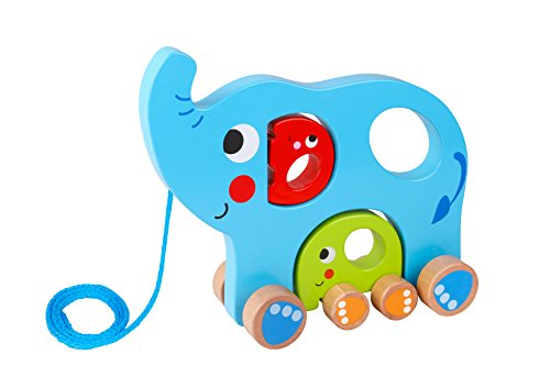 Tooky Toy - Familia de Elefantes para Arrastrar. Juguete Educativo de Madera...