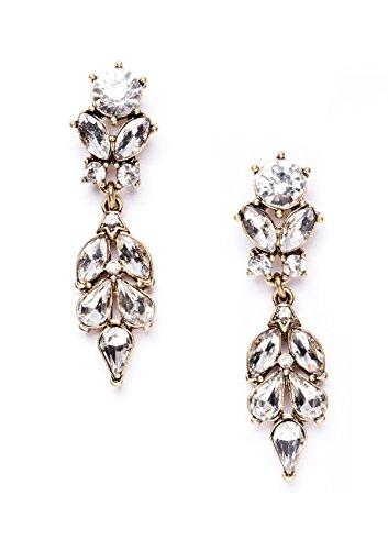 Happiness Boutique Damas Pendientes Llamativos Cristal en Oro Vintage | Pendientes de Lágrima Nupciales Largos de Cristal para Boda Libres de Níquel