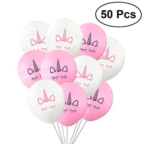 NUOLUX 50 Uncs Globos de Unicornio,Globos de Látex Fiesta de Cumpleaños Favorece Suministros Decoraciones, 10 Pulgadas, 25 Globos Blancos 25 Globos Rosados