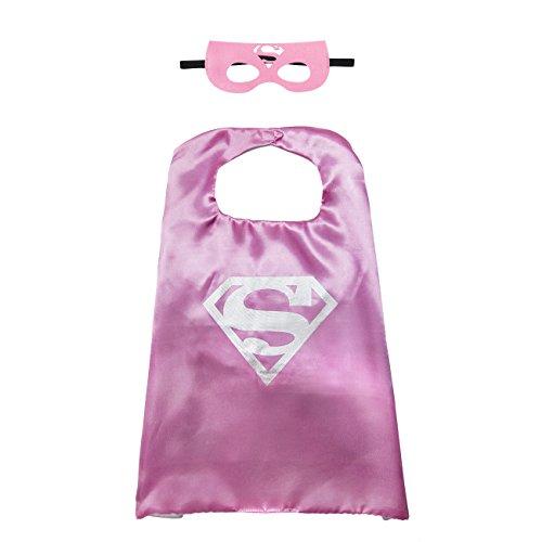 Kiddo Pflege - 1 Satz SuperGirl Superheld Kostüm Kap, Maske, Satin für Mädchen (Supergirl Kostüm Mädchen)