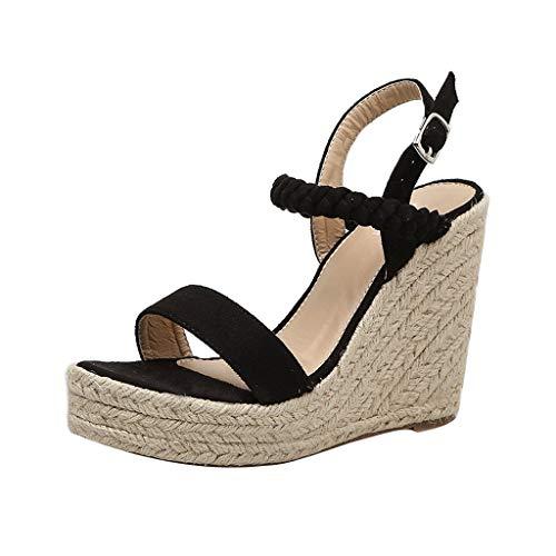 JiaMeng Damen Sexy Wedge Sandals Pumps Plattform High Heels Woven Hanf Schleife