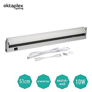 Oktaplex lighting LED Unterbauleuchte Schwenkbar Rota 60 cm I Praktische Küchen-Beleuchtung 10W 800lm LED Lichtleiste mit Schalter I Aluminium Unterschrank-Beleuchtung Küche Neutralweiß 4000K