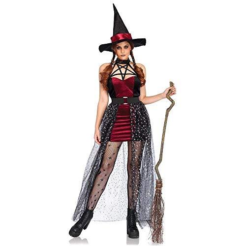Fashion-Cos1 Frauen Schwarz Rot Lustig Frech Magie Moment Böse Elfe Hexe Kostüm Sexy Zauberin Kostüm Halloween Party Club Rollenspiel Kostüme