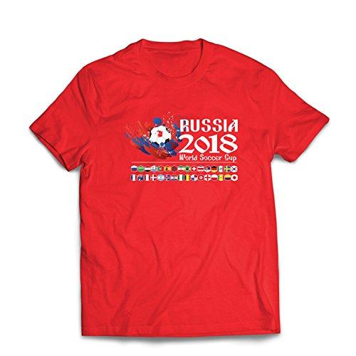Lepni.me Camisetas Hombre Copa Mundial de Rusia 2018, Las 32 Banderas Nacionales del Equipo de fútbol...