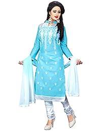 Zbuy Women's Light Blue Chanderi Cotton Embroidered Un-Stitched Salwar Suit( DY1001_Light Blue )
