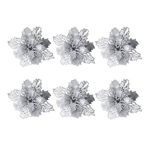 Vosarea 6pcs Weihnachten Blumen künstliche Glitter Hochzeit Weihnachtsbaum Kränze Dekor Ornament (Silber) (Glitter Hochzeit Dekor)