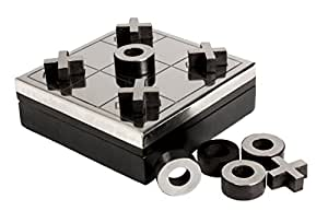 Store Indya Black Wooden Tic Tac Toe Game Box with Storage for Metal Noughts and Crosses Holiday Travel Board Game for Kids Adults