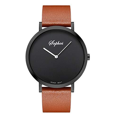 Sophos Collection Watches 42mm, Unisex Minimalist Waterproof Wrist Watch  Analogue Quartz Adults Watch with Genuine Leather Watch Strap (Black &
