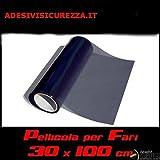 StickersLab - Pellicola oscurante fari 30x100cm fanali fumè SCURO nera light anteriori posteriori fendinebbia