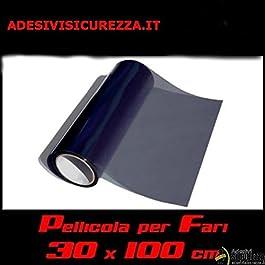 StickersLab – Pellicola Oscurante fari 30x100cm fanali fumè Scuro Nera Light Anteriori Posteriori fendinebbia