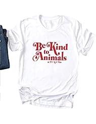 OUNAR Mujer Be Kind To Animals or I'Ll Kill You Camiseta de Manga Corta para Tops Camisa
