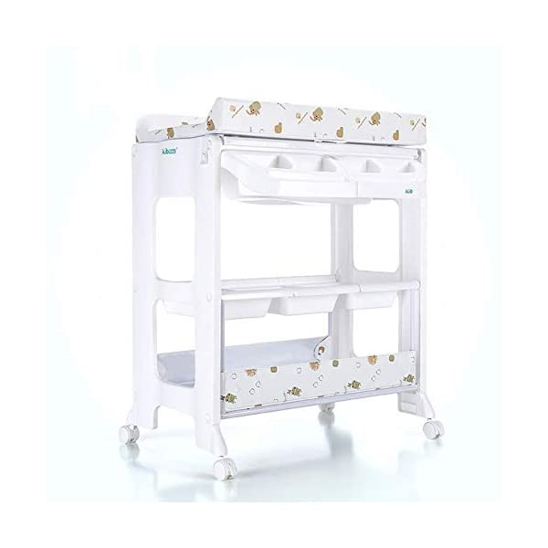 Changing Table Baby Changing Table White Newborn Diaper Station Dresser with Casters Wheels Portable Wood Nursery Organizer for Infant (Color : White) Changing Table ●Size and Safe and Stable- 102 x 82 x 53cm,Suitable for babies weighing less than 25kg,With seat belt,Changing pad has a restraining strap for added safety and is made of easy to clean, soft ●2-in-1 design- Baby changing table can be used as baby massaging table as well. It is designed at the proper height of parent to prevent mom's back aches and pains from kneeling or bending when changing diapers to babies. ●Premium materials - Using high-quality materials for our 2 in 1 infant changing table,Reinforced metal,it is durable and stable for long time daily use,And easy to clean and maintain. 1