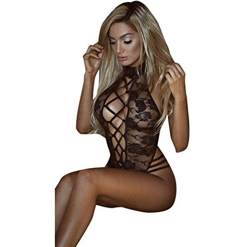 - 41GeEL5qucL - BBring Women Sexy Lingerie Lace Hollow Out Bodysuit Nightwear Underwear G-string Babydoll Sleepwear