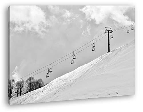 deyoli Ski Sessellift Format: 120x80 Effekt: Schwarz&Weiß als Leinwandbild, Motiv fertig gerahmt auf Echtholzrahmen, Hochwertiger Digitaldruck mit Rahmen, Kein Poster oder Plakat