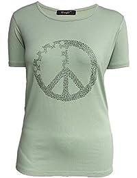Damen Oberteile Kurzärmelig Sommer T Shirt für Standurlaub mit Strass Motiv  1722 Peace Tops Shirt 3282b6f249
