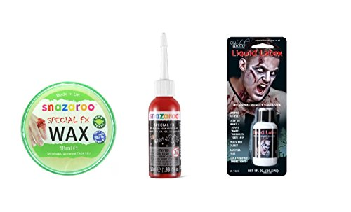 Halloween Theatrical Scar Liquid Latex, Snazaroo FX Wax & Gel Blood Starter Set