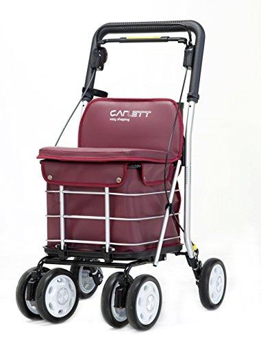 Deluxe Einkaufstrolley mit Einkaufstasche 6 Räder Shopper für Senioren von Carlett Lett 800 mit Sitzfunktion klappbar Weinrot
