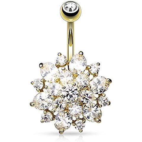 Paula & Fritz acciaio chirurgico 14 carati ombelico trasparente oro ciondolo Dahlia fiore tempestato con zirconi trasparenti - 1 Anello Placcato Oro Bello