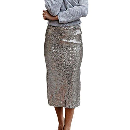 Ba Zha Hei röcke Damen Knielange Asymmetrischer Gummibund Ausgestellter Bleistift Rock Kurz Hohe Taille Stretch Rock Fashion Womens Sommer Knielangen Pailletten Seitenschlitz Rock (Silber, L)