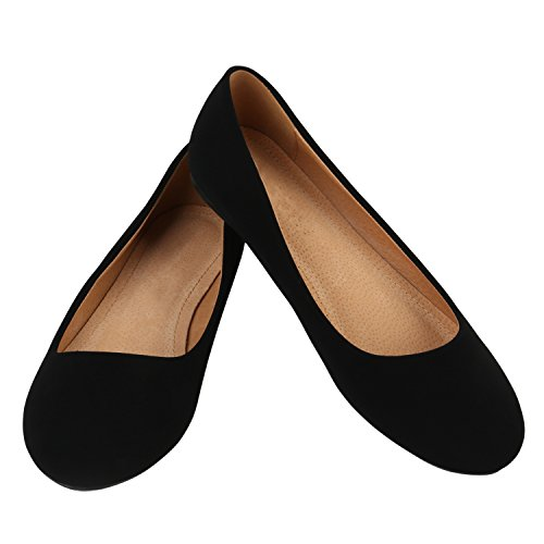 Klassische Damen Ballerinas Lederoptik Bequeme Schuhe Freizeit Übergrössen Glitzer Lack Party Schuhe Zweitschuhe Hochzeit Abiball Schwarz Total