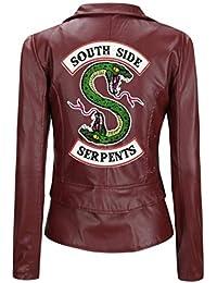 72ac4d131c SilverBasic Blouson Cuir Moto Riverdale Serpent South Side Femme Manteau  Fourrure Fille Pull Chic Gilet Court