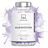 Suplemento de citrato de magnesio [ 400 mg ] de Aava Labs - Para el apoyo de un funcionamiento normal de los huesos, sistema nervioso y músculos – Sin transgénicos y vegano - 180 Cápsulas.
