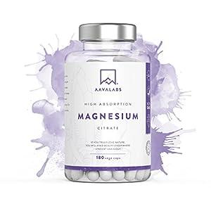 Suplemento de Citrato de Magnesio [ 400 mg ] de AAVALABS – Aumenta Testosterona Energía Rendimiento Deportivo Reduce Cansancio Mejor Sueño Alta Concentración – Vegano – 180 Cápsulas