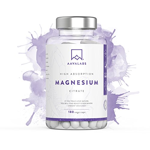 Magnesium Citrate Supplement [ 400 mg ] 180 Caps by Aava Labs – Pure & Non-Buffered –...