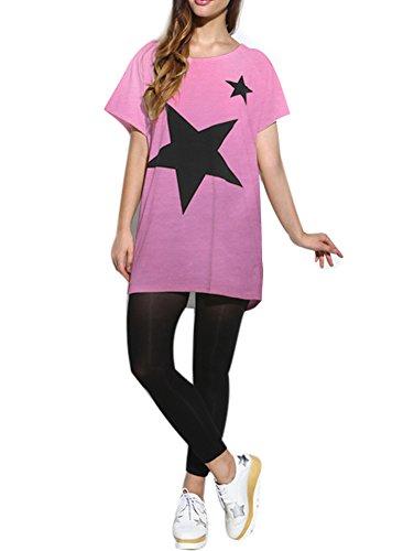 Lath.pin maglietta maniche corte donna camicie e bluse estive, batwing dolman t-shirt casual top rosa