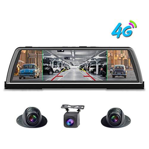 "SZKJ K600 360 Grad Panorama-Armaturenbrett 4G Auto DVR Dashcam 4CH Kameras Recorder 10\"" Touch Android Rückspiegel GPS Navi ADAS WiFi Bluetooth Fernüberwachung"
