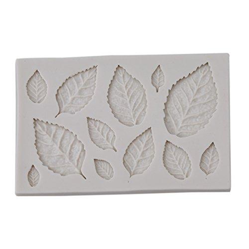 ODN 3D Blatt Form Silikon Fondant Kuchenform Keksform (weiß)