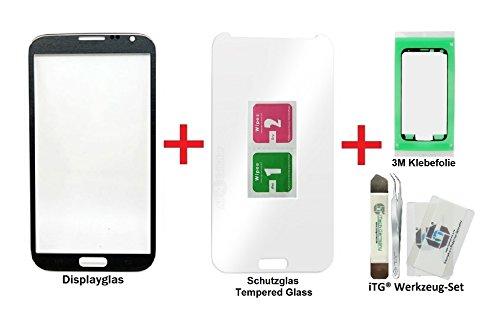 iTG® PREMIUM Displayglas Reparatur-Set für Samsung Galaxy Note 2 in Grau (Titanium Grey) - Oleophobic Front Display Glas für N7100 N7105 LTE mit Tempered Glass Displayschutz, Vorgeschnittene 3M Klebefolie und iTG® Werkzeug-Set (Samsung Digitizer 2 Note)