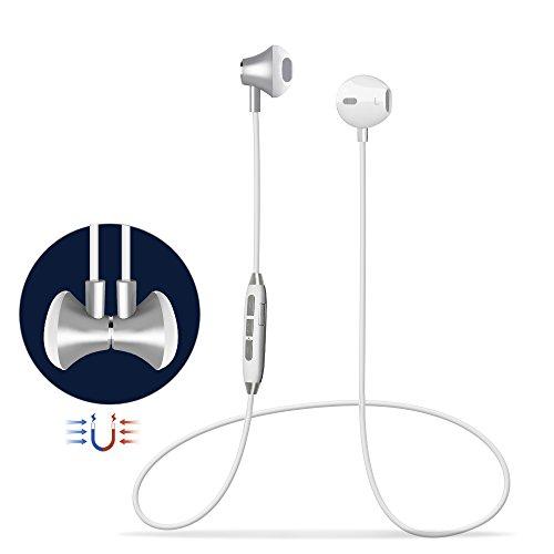 Bluetooth Kopfhörer4.1 In Ear Kopfhörer magnetischeHeadsetWireless Sport Headset Kopfhörermit intelligente Sprachaufforderung und Multipoint Magnet/Mic für iOS iPhone Smartphone 8 8 Plus X Android (GL06)