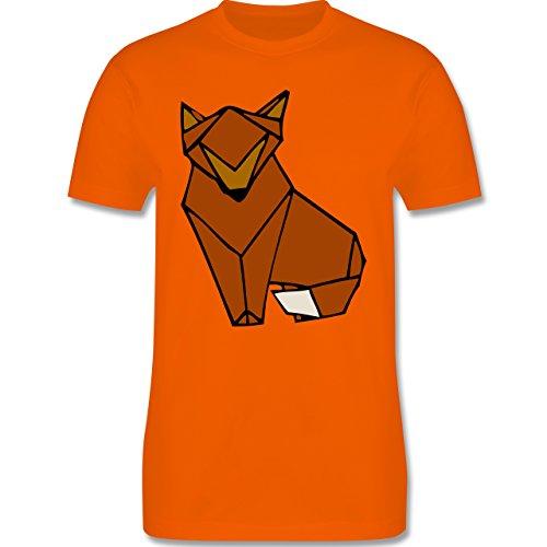 Eulen, Füchse & Co. - Origami Fuchs - Herren Premium T-Shirt Orange