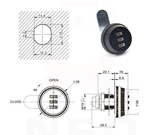 Liuer 3 Zahlen Digital für Schrank Schrank Schublade Briefkasten Code Zahlenschloss,ohne Schluessel,Schloss Schrank Mechanische Verriegelung Passwort Code,1pcs(Schwarz) - 3
