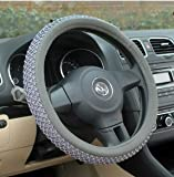 #6: NIKAVI Car Steering Wheel Cover, Microfiber, Emboss Holes, Soft Padding Great Hand Feel, Anti-slip Matte Finish, 15 Inch Middle Size - Grey Line
