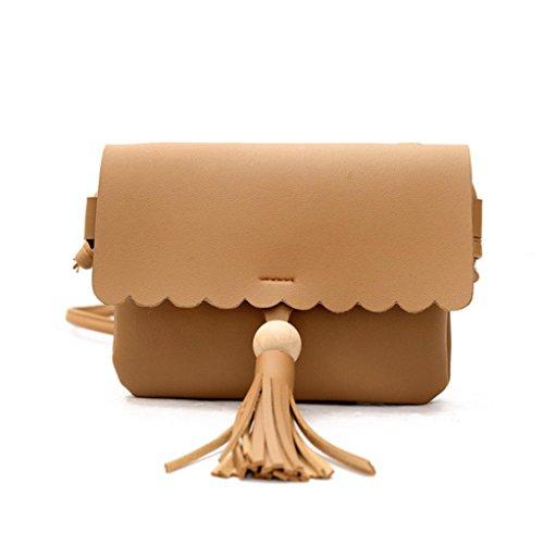 Longra Donne solide colore HASP frange borsa spalla borse Marrone