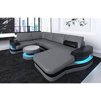 Sofa Dreams Leder Wohnlandschaft Modena U Form grau-schwarz