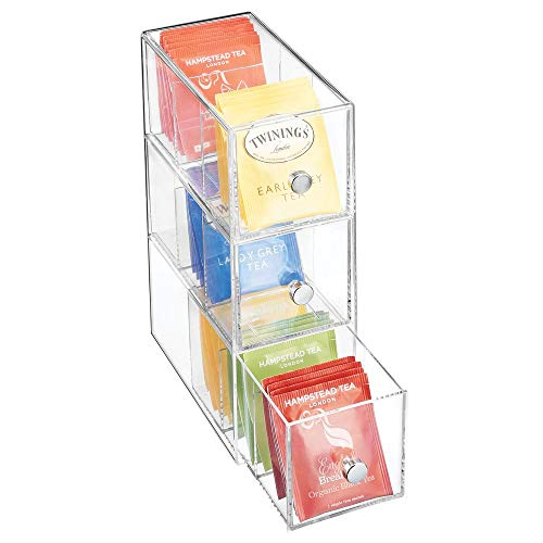 mDesign Küchen Organizer mit 3 Schubladen - Aufbewahrungsbox für Teebeutel, Kaffeepads, Süßungsmittel und mehr - Teekiste aus Kunststoff - durchsichtig