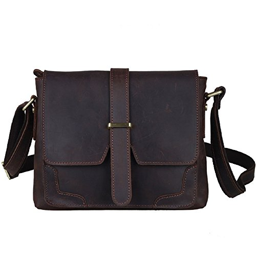 "Price comparison product image Mens Women's Office Portable Handbag Vintage Style Leather Briefcase 10"" Notebook Shoulder Messenger Crossbody Satchel Bag Phone Holder"