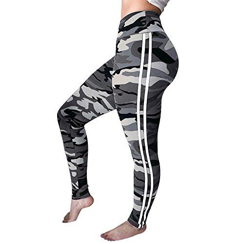 Routinfly Camouflage Hose für Damen, Lady Cargo Hose Jogger Hip Hop Rock Leggings (L, Athletic Gray)