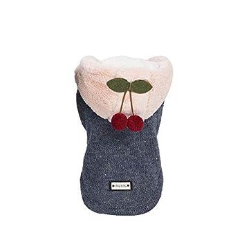 Chat Chiot Hiver Vêtements,Pet Dog Cotton Manteau avec Chapeau Mignon Petit Cherry Pendentif Automne Et Hiver,Pet Manteaux (L, Marine)