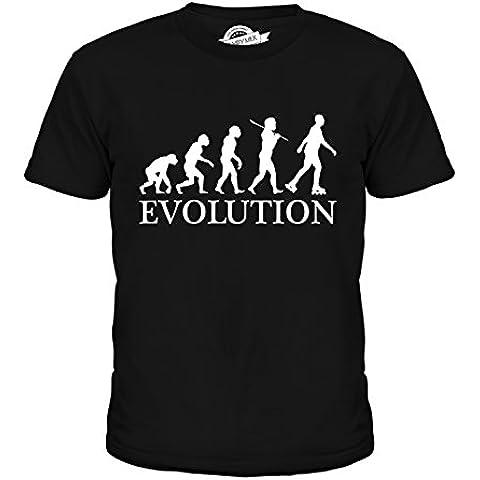 CandyMix Pattinaggio In Linea Evoluzione Umana Unisex Bambino Ragazzi/Ragazze T-Shirt