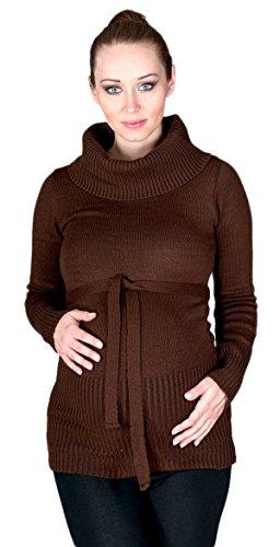 Zeta Ville - Maternité Pull Tunique de grossesse - encolure roulé - femme - 358c Brun