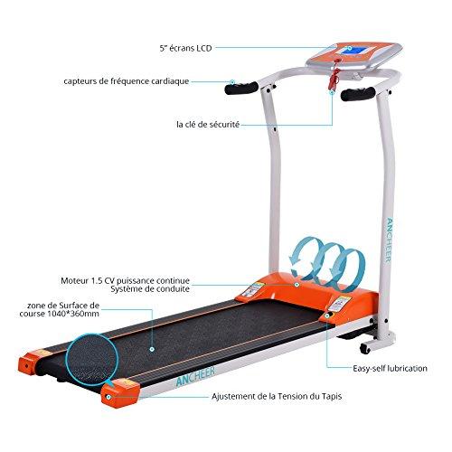 Mini Laufband S8400 1.5 PS Elektrisches Power Heimtrainer Klappbar mit Digitalanzeige (Orange)