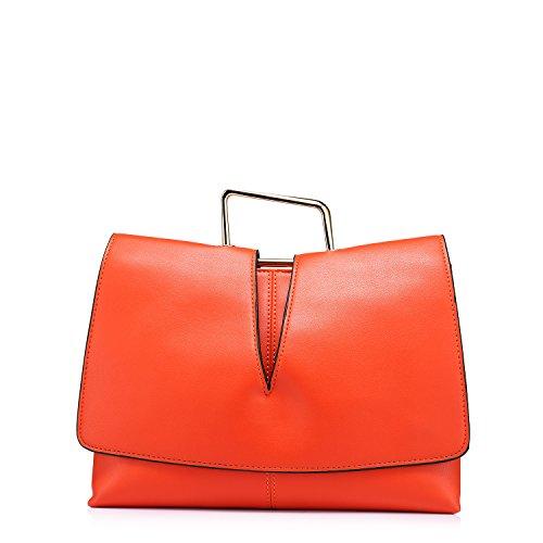 LOVEVOOK doppia cerniera borse della borsa a tracolla delle donne arancia
