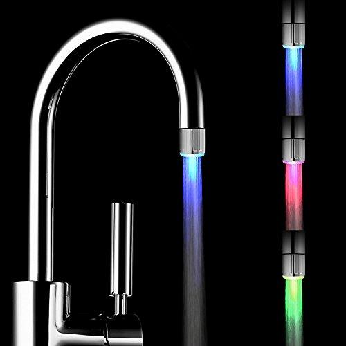 2 Packung Bunte LED Wasser Wasserhahn mit 3 Farben wechseln Temperaturkontrolle, FLYING RC-F03 Wasser-Wasserhahn-Hahn Für Küche und Badezimmer.