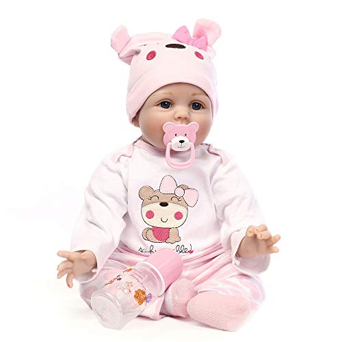 ppe Lebensechte Babypuppen Reborn Babys Mädchen Weiche Babypuppe, Pinkem Strampler und mütze, 55 cm (55cm, New pink) ()