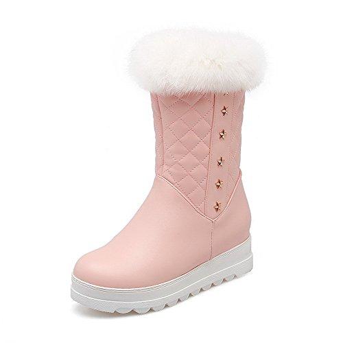 VogueZone009 Damen Mittler Absatz Rein Rund Zehe Reißverschluss Stiefel Pink